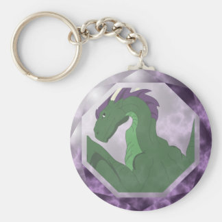 Cool Green And Purple Dragon Gem Keychains