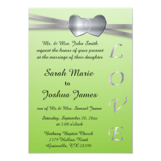 Cool Green and Silver Wedding Love Hearts 5x7 Paper Invitation Card