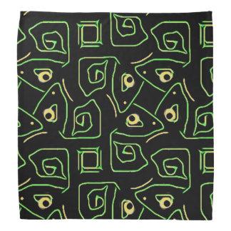 Cool Green and Yellow Eye of Lizard Tribal Pattern Bandana