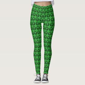 Cool Green & Black Alien Tribal Symbol Pattern Leggings