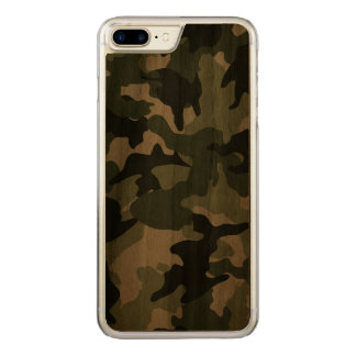 Cool Green Camo Military Camouflage Pattern Wood Carved iPhone 8 Plus/7 Plus Case