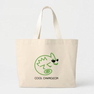 Cool Green Chameleon Large Tote Bag