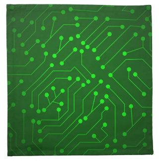 Cool Green Circuit Board Design Napkins