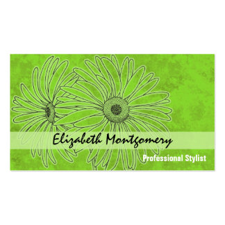 Cool Green Daisy Stylist Appointment Business Card