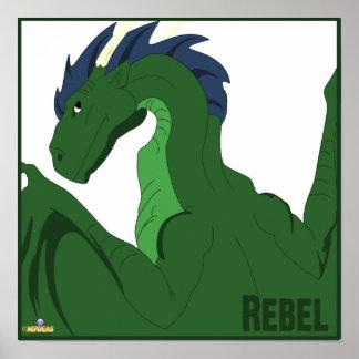 Cool Green Dragon Blue Hair Rebel Posters