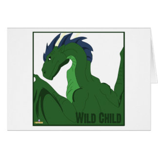 Cool Green Dragon Blue Hair Wild Child Greeting Cards