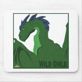 Cool Green Dragon Blue Hair Wild Child Mouse Pad