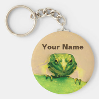 Cool Green Frog Personalized Name Basic Round Button Key Ring