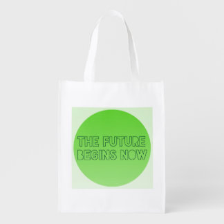 Cool Green Future Quote Typography Reusable Grocery Bag