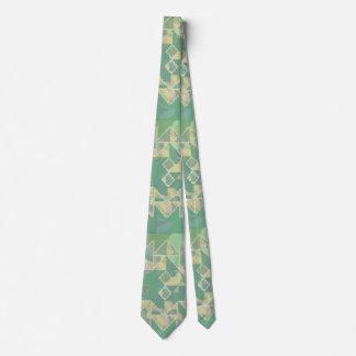 Cool Green Geometric Wavy Pattern Tie
