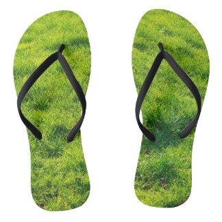 Cool Green Grass Print Flip Flops