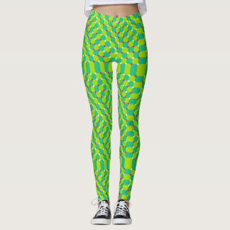 Cool Green Optical Illusion Pattern Leggings