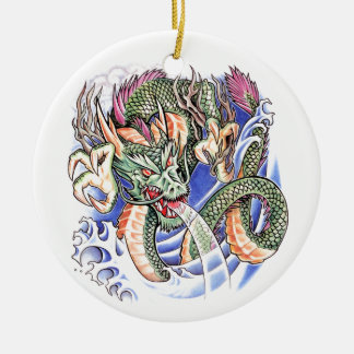 Cool Green Oriental Dragon tattoo Christmas Ornament