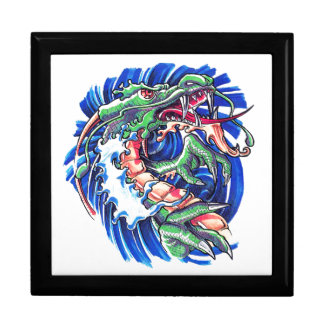 Cool Green Oriental Water Dragon Large Square Gift Box