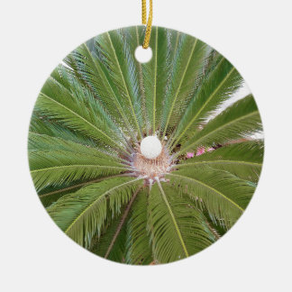 Cool Green Palm Round Ceramic Decoration