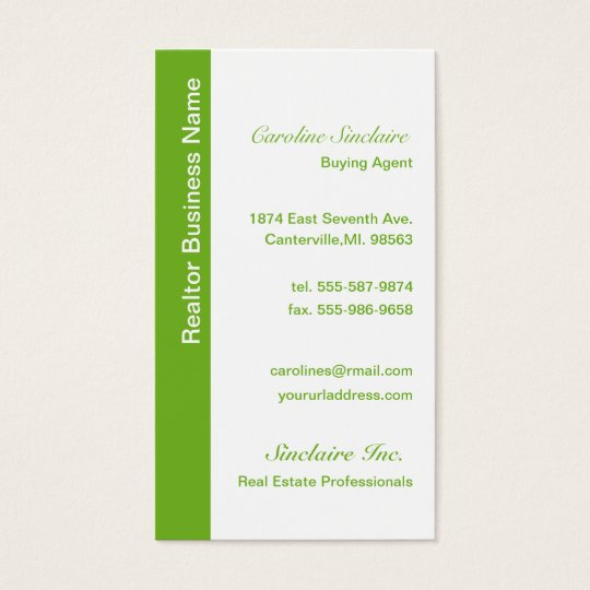 Cool Green Realtor Business Cards