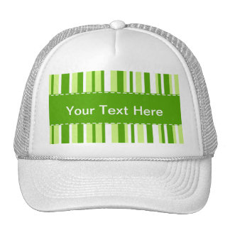 Cool Green Stripes Striped Mesh Hats