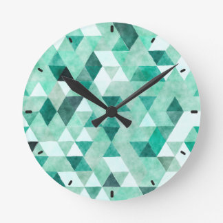 Cool Green Watercolor Triangle Pattern Wall Clock
