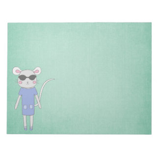 Cool Green With Cute Mouse in Purple Notepads
