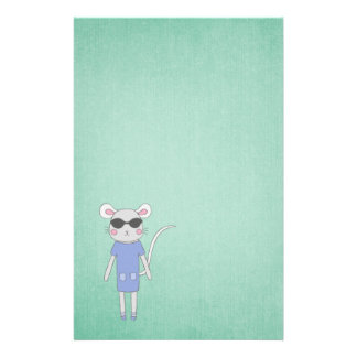Cool Green With Cute Mouse in Purple Stationery