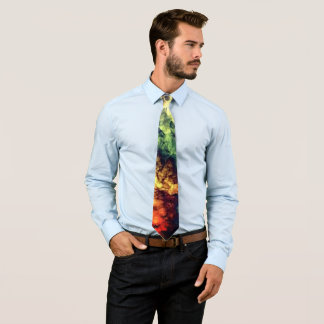Cool Green  Yellow fire smokey texture Men Tie