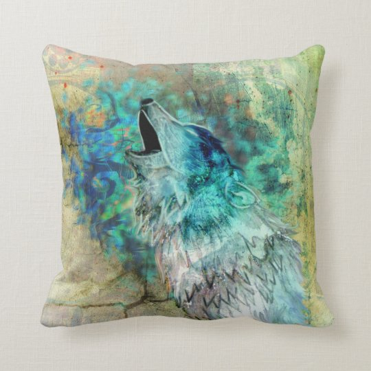 Cool Grey and Turquoise Howling Wolf Art Cushion
