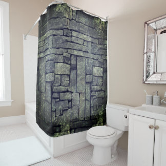 Cool grey beach stones textured design shower curtain