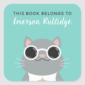 Cool Grey Cat | Turquoise This Book Belongs To Square Sticker