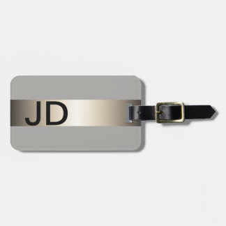 Cool Grey Faux Metal Stripe Bold Monogram Luggage Tag