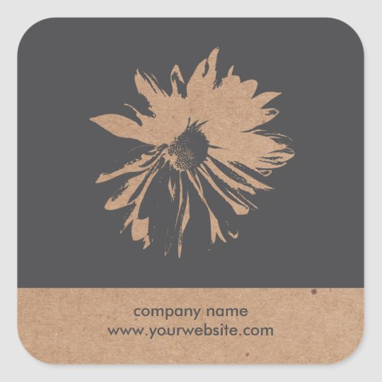 Cool Grey Floral Kraft Paper Florist Sticker