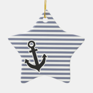 Cool Grey Horizontal Stripes; Anchor Christmas Ornament
