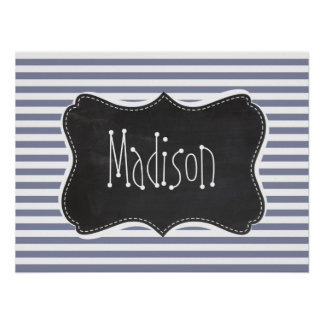Cool Grey Horizontal Stripes; Vintage Chalkboard Posters