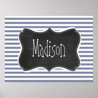 Cool Grey Horizontal Stripes; Vintage Chalkboard Posters
