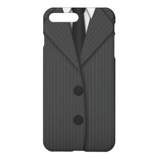Cool Grey Pinstripe Suit and Tie Manly Gray Matte iPhone 7 Plus Case