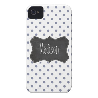 Cool Grey Polka Dots; Retro Chalkboard iPhone 4 Case-Mate Cases