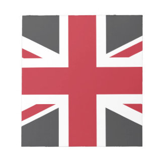 Cool Grey Red Union Jack British(UK) Flag Notepad