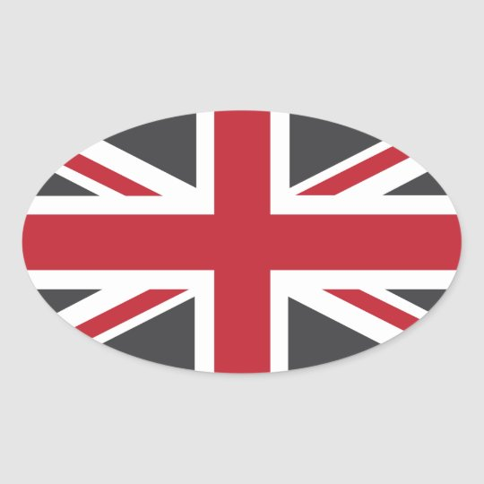 Cool Grey Red Union Jack British(UK) Flag Oval