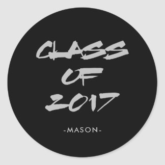Cool Grey Text on Black | Class of 2017 Graduate Round Sticker