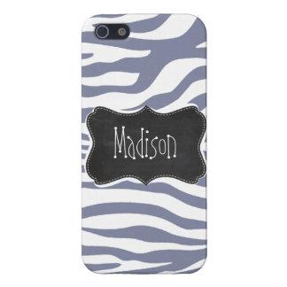 Cool Grey Zebra Stripes; Vintage Chalkboard look Case For iPhone 5