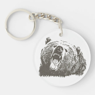 Cool Grizzly Bear Roar Hand Drawn Single-Sided Round Acrylic Key Ring