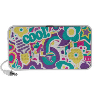 cool groovy girly sticker collage design II Speaker System