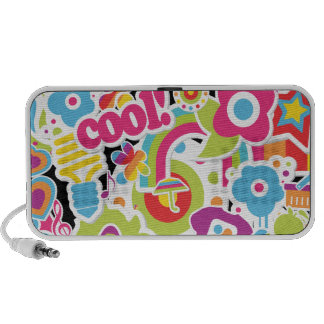 cool groovy girly sticker collage design speaker system