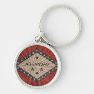Cool Grunge Arkansas Flag Silver-Colored Round Key Ring