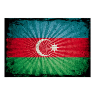 Cool Grunge Azerbaijan Flag Print