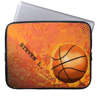 Cool Grunge Basketball Abstract Art Personalized Laptop Computer Sleeve