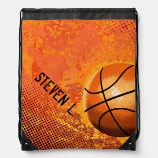 Cool Grunge Basketball Abstract Art Personalized Cinch Bag