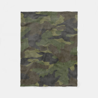 Cool Grunge Green Camo Custom Fleece Blankets