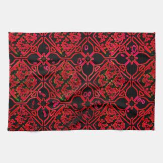 Cool Grunge Red Medieval Print Hand Towel