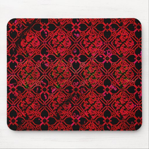 Cool Grunge Red Medieval Print Mouse Pad