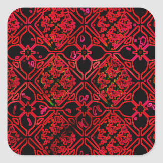 Cool Grunge Red Medieval Print Square Sticker